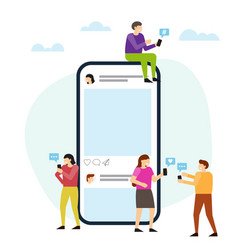 Social media with phone and small people around vector
