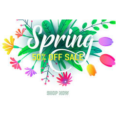Spring sale banner background with flat vector
