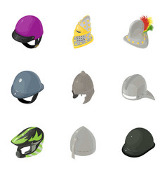 Strong helmet icons set isometric style vector