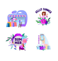 summer set banners and posters with characters vector image