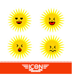 sun emotion cartoon vector image