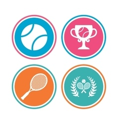 Tennis ball and rackets icons Laurel wreath vector image