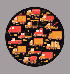 Trucking industry round concept with different vector