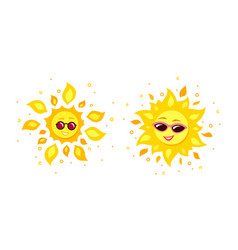 two sun characters isolated on white background vector image