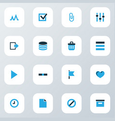 user icons colored set with exit attach list and vector image