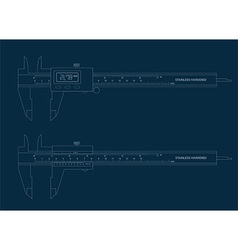 Vernier caliper digital and basic tools blueprint vector