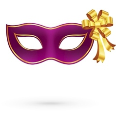 Violet carnival mask with golden bow vector image