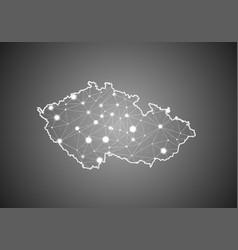 Wireframe mesh polygonal czech republic map vector