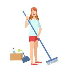 Woman sweeping a floor with broom cartoon adult vector