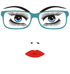 beautiful smart young woman wearing glasses vector image vector image