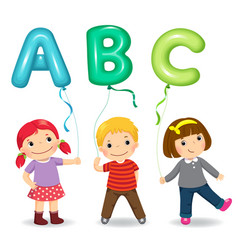 cartoon kids holding letter abc shaped balloons vector image