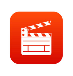 clapperboard icon digital red vector image vector image