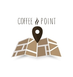 Coffee point navigation on the map vector image