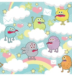Cute monsters on clouds seamless texture vector image