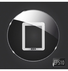 Glass pad button icon on metal background vector image vector image