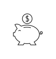 piggy bank outline icon vector image vector image