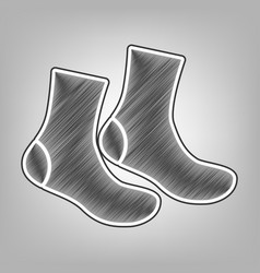socks sign pencil sketch imitation dark vector image vector image