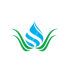 swirl water drop with leaf logo image vector image