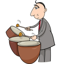 timpani musician cartoon vector image