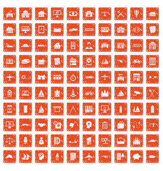 100 private property icons set grunge orange vector image vector image