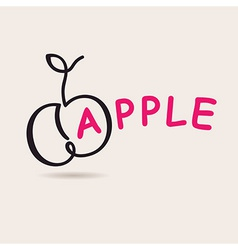 Apple logo logo freehand drawing vector image vector image
