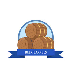 beer wooden barrels isolated vector image vector image