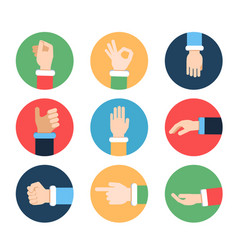 different hands in action poses pictures vector image