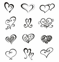 hearts tattoo set vector image vector image