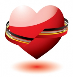 love heart ribbon vector image vector image