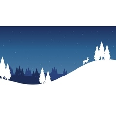 Silhouette of hill landscape winter Christmas vector image vector image