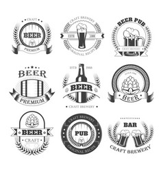 Beer icons for brewery bar pub or product vector