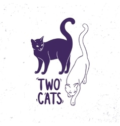 cats black and white vector image vector image