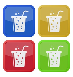 Four square color icons fast food drink and straw vector