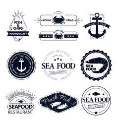set of seafood logos Crab lobster restaurant vector image