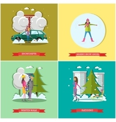 set of winter time concept posters banners vector image vector image