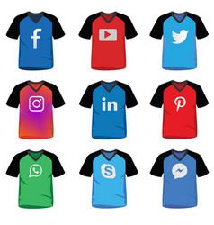 social media icon on t-shirt vector image