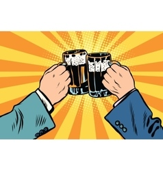toasting hands beer party poster vector image vector image