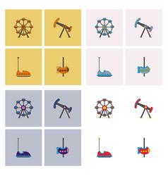 Amusement park icons vector