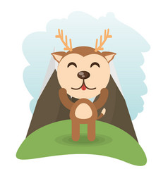 cute deer animal winking vector image vector image