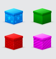 four closed gift boxes of green blue red pink vector image vector image