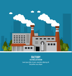 Plant trees building chimney factory industry icon vector