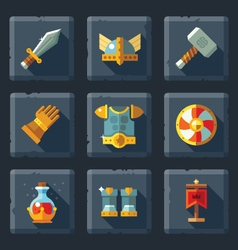 Relief game icon set on stone vector image