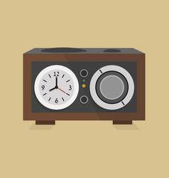 retro modern radio clock icon on beige background vector image