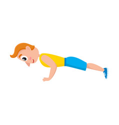 Young man doing push ups sport exercises vector
