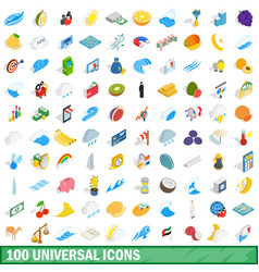 100 universal icons set isometric 3d style vector