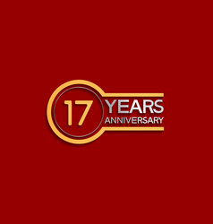 17 years anniversary golden and silver color vector