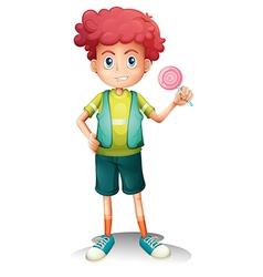A boy holding lollipop vector