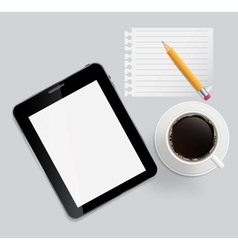 Abstract design tablet coffee pencil blank page on vector image