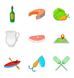 barbecue party icons set cartoon style vector image vector image