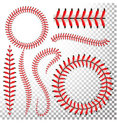 Baseball stitches set red lace vector
